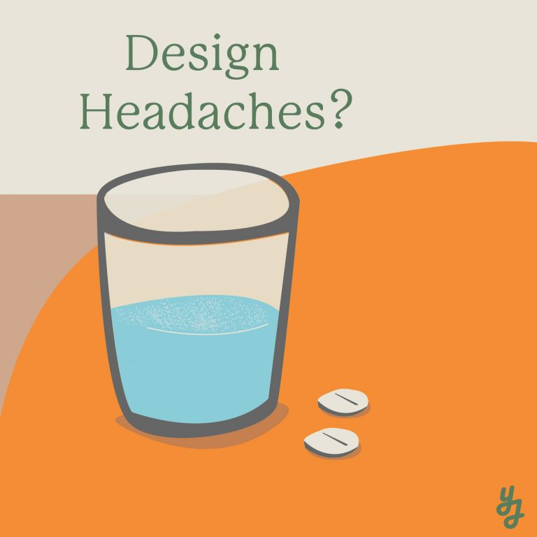 illustration of glass of water and headache pills